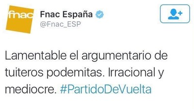El pobre CM de la FNAC tuitea un mensaje personal en la cuenta de la firma francesa