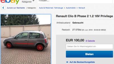 """Der wohl ehrlichste Autoverkäufer der Welt verkauft auf eBay sein """"Kackfass"""" von einem Clio"""