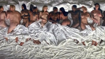 kanye's famous video stars kim, taylor and trump in post-coital bliss