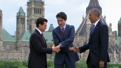 The Definitive Analysis of That Trudeau-Obama-Nieto Handshake That You Didn't Know You Needed