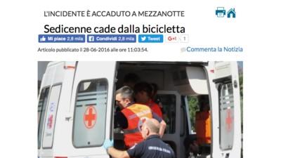 """""""Sedicenne cade dalla bicicletta"""": Biella è la provincia più noiosa d'Italia?"""
