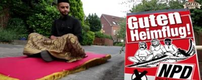 Auf einem fliegenden Teppich kämpft ein Muslim gegen die NPD