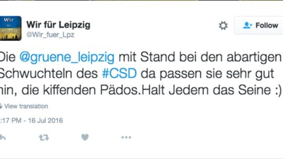 """Die Wählervereinigung """"Wir für Leipzig"""" hat ein Tweet-Kunstwerk der Ekelhaftigkeit geschaffen"""
