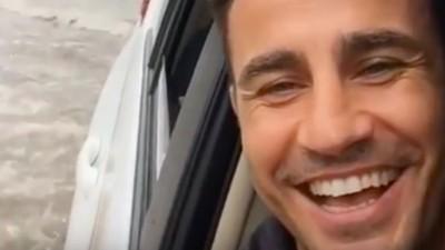China-ganger Fabio Cannavaro heeft lol om zijn nieuwe, kletsnatte leefomgeving
