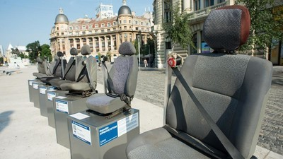 An Exhibition of Seats Taken From Deadly Car Crashes