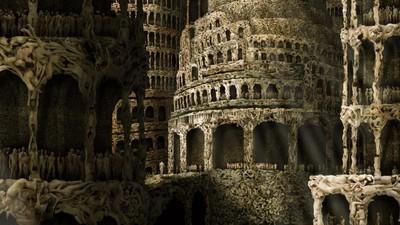 De Toren van Babel, opgebouwd uit ontelbare naakte lichamen