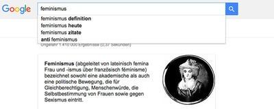 "Let me google ""Feminismus"" for you"