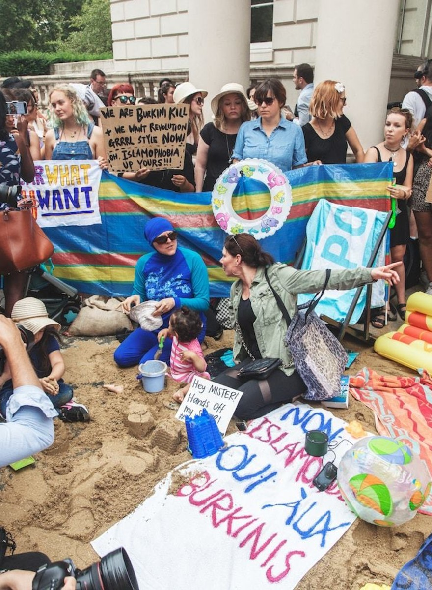 Photos from London's Protest Against the French Burkini Ban