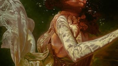 As pinturas hiper-realistas que retratam sereias no seu habitat natural