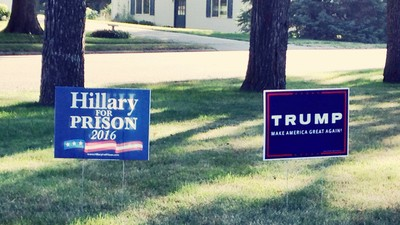 A Trump Supporter Set Booby Traps Around His Lawn Sign to Stop People from Stealing It