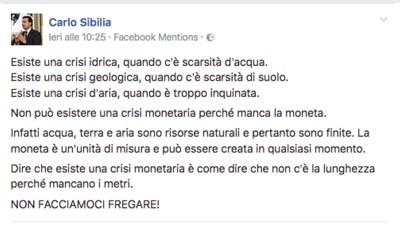 Cosa voleva dirci Carlo Sibilia col suo incredibile status sulla crisi monetaria?