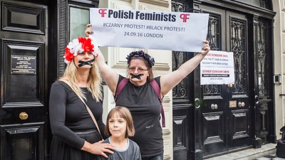 Photos from the London Protest Against Poland's Restrictive Abortion Laws