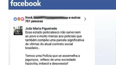PM que falou mal da polícia no Facebook é punido com prisão de 15 dias
