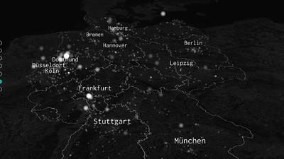 Eine 3D-Animation zeigt alle UFO-Sichtungen in Deutschland seit 1945