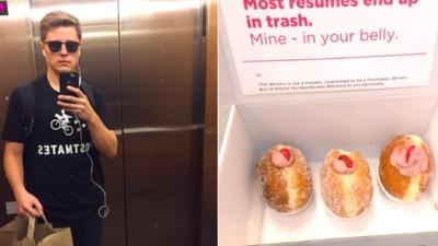 Ein Typ wird zu 10 Vorstellungsgesprächen eingeladen, weil er seine Bewerbung in einer Donut-Box versteckt