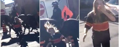Watch This Young Woman Get Bodied by a Police Horse After Slapping It