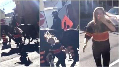 Kanadische Studenten klatschen Polizeipferde, kassieren Tritte und Anzeigen