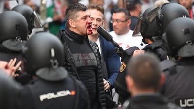 Warschauer Hooligans haben gestern Madrid auseinandergenommen