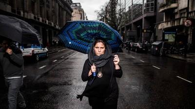 Fotos de mulheres no ato Ni Una Menos na Argentina