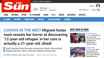 Some Important Questions for 'The Sun' About Their 'Child Refugee Turns Out to Be an Adult Jihadi' Story