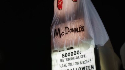 A Burger King Franchise Dressed Up Like McDonald's for Halloween