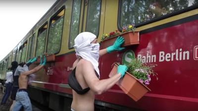 Graffiti-Crew klebt Blumenkästen an S-Bahn-Fenster und es ist großartig