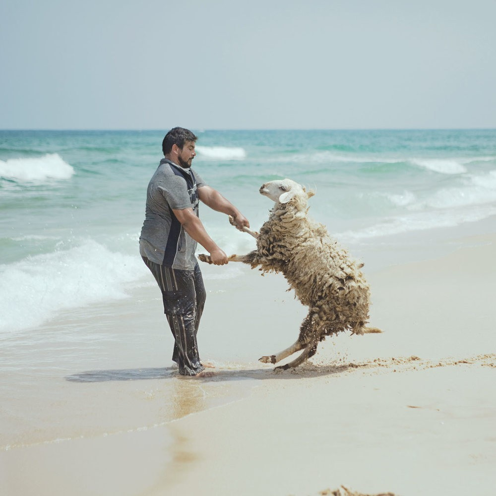 A Palestinian man and companion on a beach in the Gaza Strip, 2010.