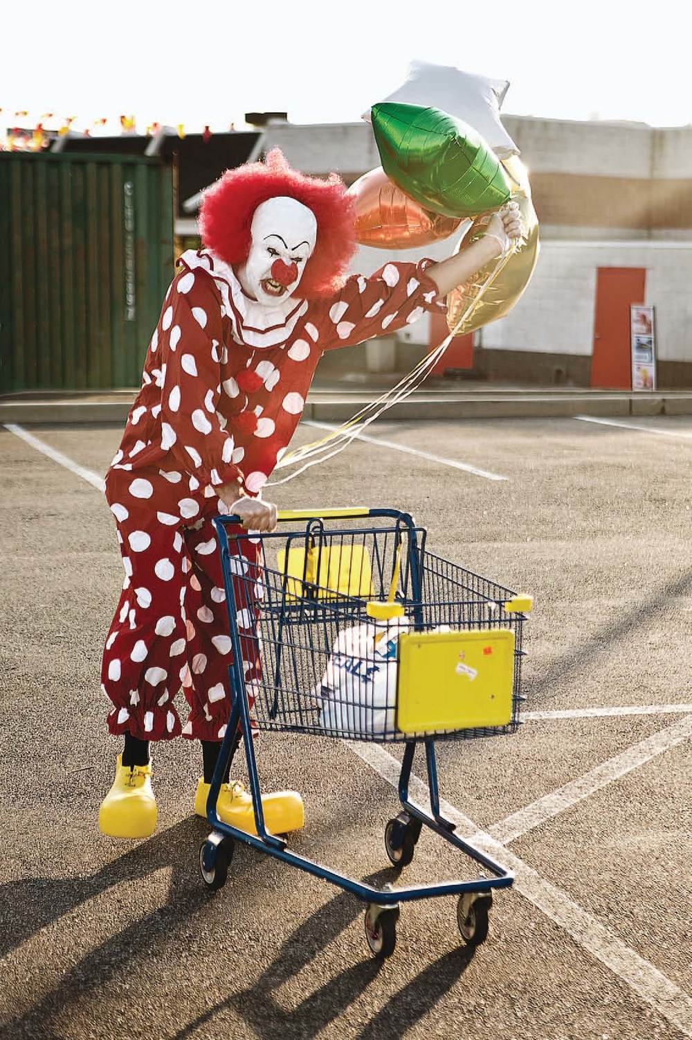 Clown suit, shoes, and wig from Halloween Adventure, American Apparel socks