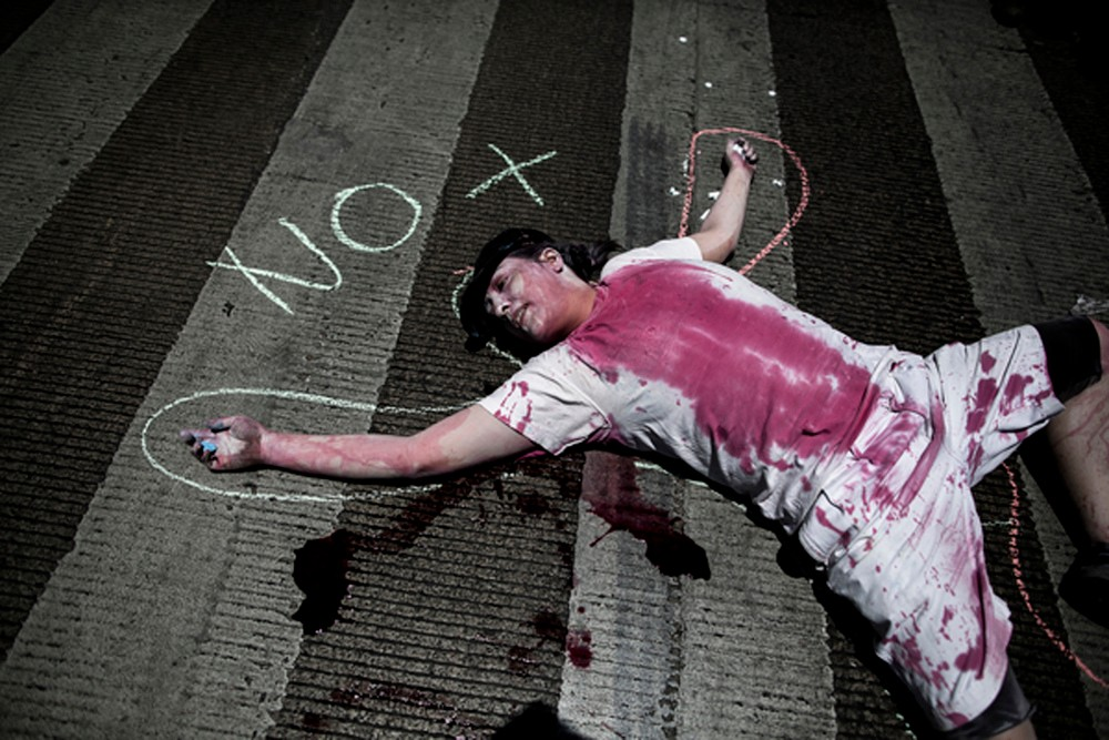 "A common refrain for the #YoSoy132 movement is ""No more blood,"" or in this scene acted out by activists, ""No mas Sangre."""