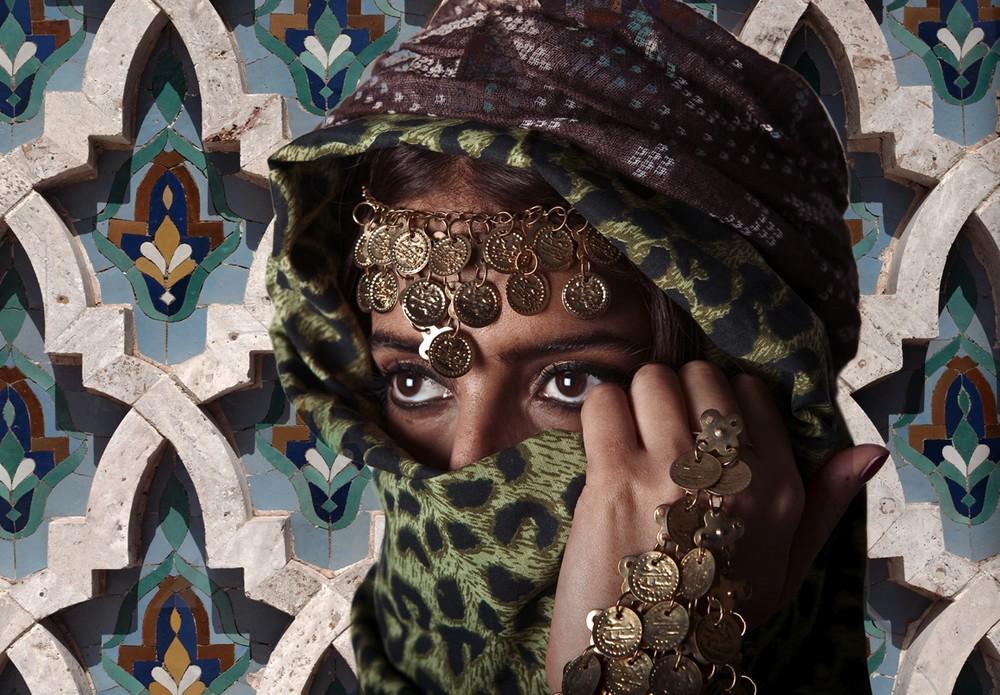Leopard-print sjaal van stylist, bruine sjaal van Norse Project.