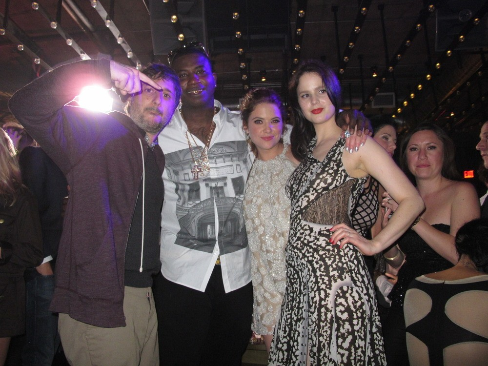 Harmony, Gucci Mane, Ashley Benson, and Rachel Korine! Weird photo because Gucci never smiles! We think he was happy! He was smoking blunts and security was too scared to say anything to him! Amazing human right there!