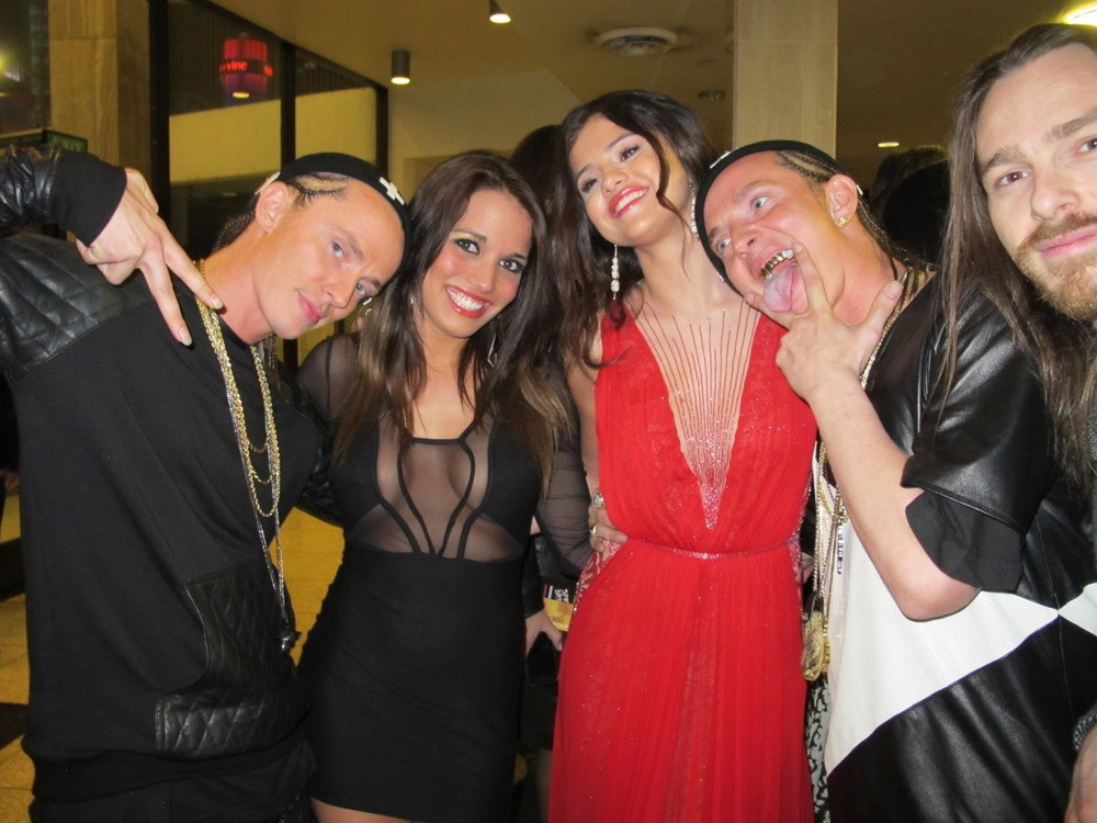 This is us with Selena Gomez, who we really are infatuated with, but we think she was a little upset that our French bitch stunted on her!
