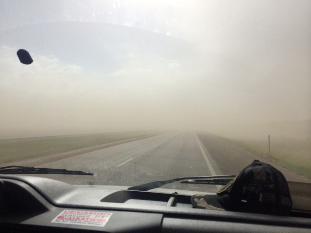 And suddenly there was a sand storm on the horizon in Kansas, and it quickly overtook us.