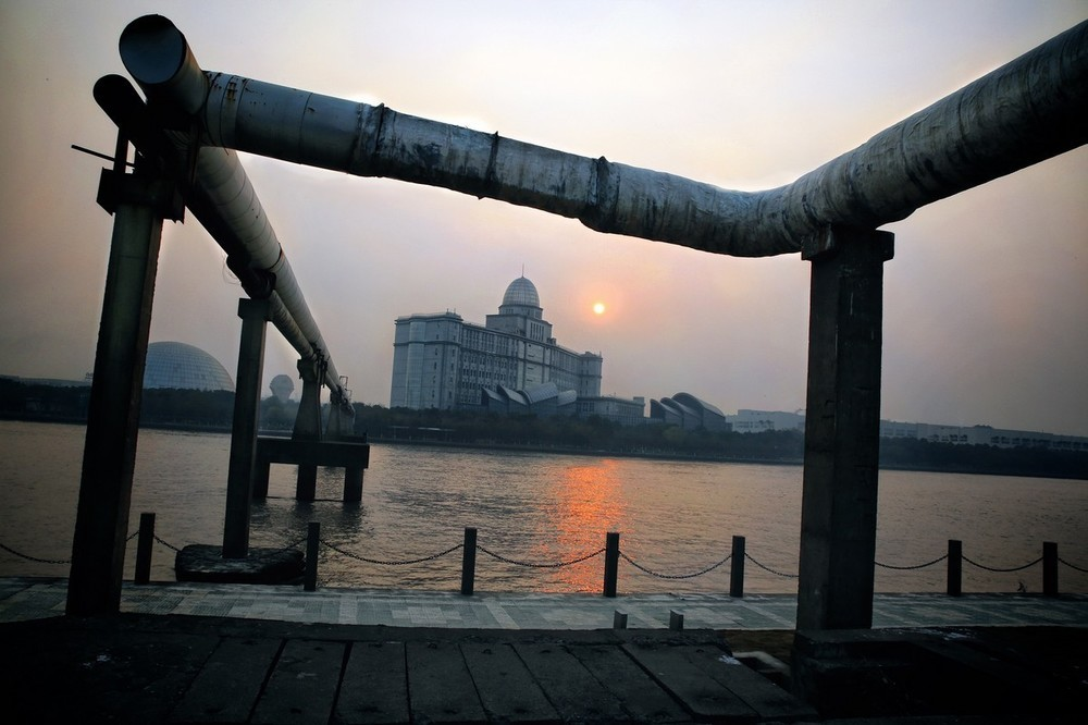 Dawn over a textile factory in Ningbo