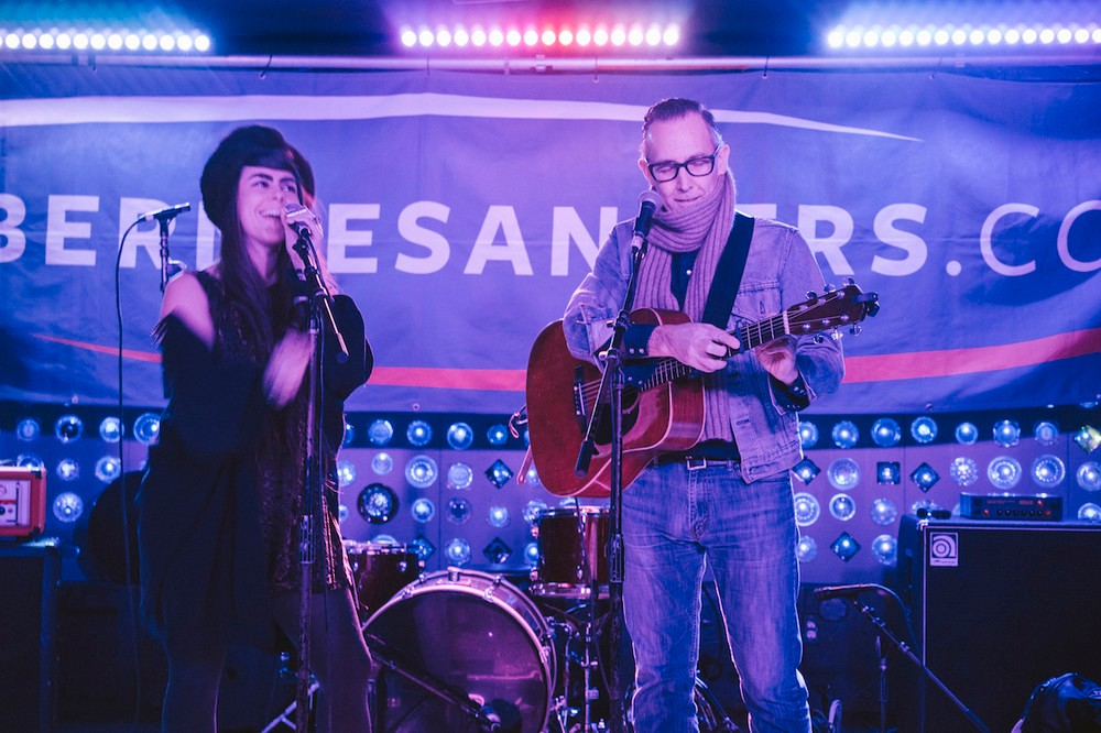Vermont musicians Kat Wright and Brett Hughes, long-time Bernie Sanders supporters, made the trip down from Burlington to perform at Baby's All Right.