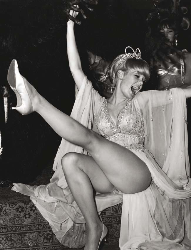 Joey Heatherton kicking up her heels at the Artists & Models Ball on November 19, 1966, at the Biltmore Hotel in New York.