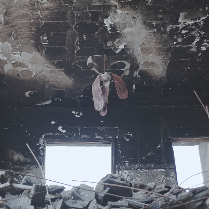 Rubble in a house in the Gaza Strip bombed during the war in January 2009.