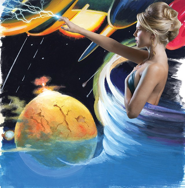 Neuinterpretation von Beyond All Weapons, erschienen bei Galaxy, 2012; Originalcover von Super Science Stories (Popular Publications, Januar 1950)