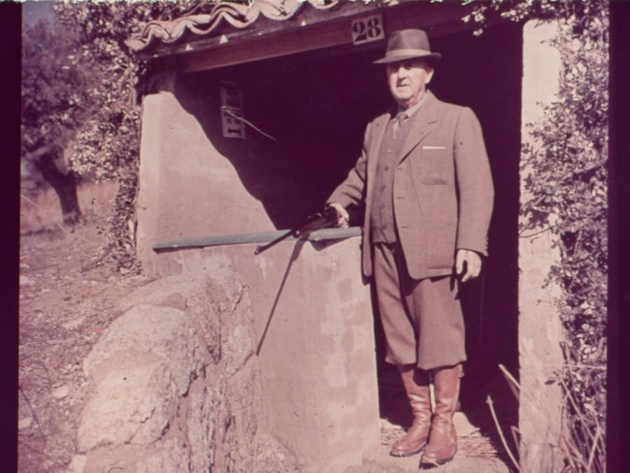 Franco, de caza en un puesto del monte del pardo 1965