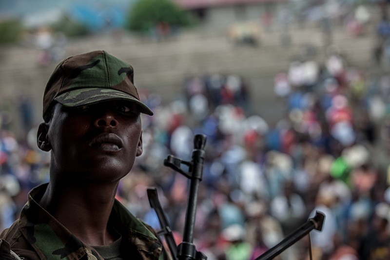 An M23 soldier guards Goma's football stadium on November 21, 2012,