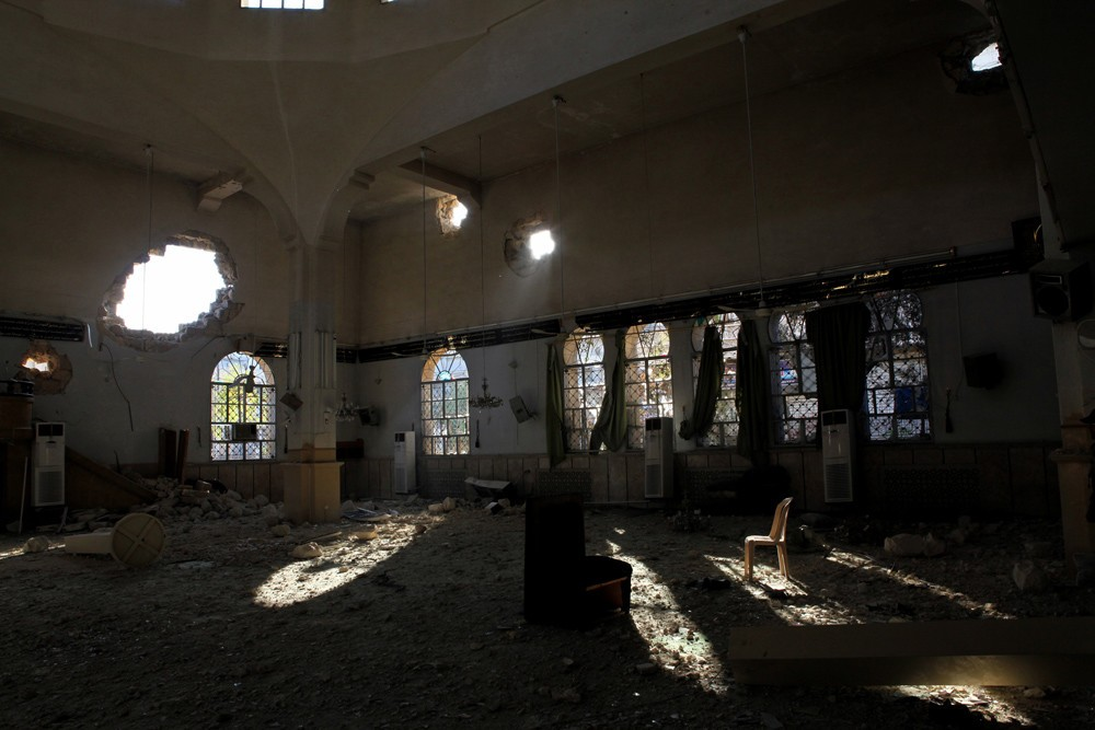 November 21, 2012 –Aleppo, Syria: The destroyed mosque of Salah Aldin. The mosque was damaged during the fighting between fighters with the Free Syrian Army and soldiers loyal to Bashar al-Assad.
