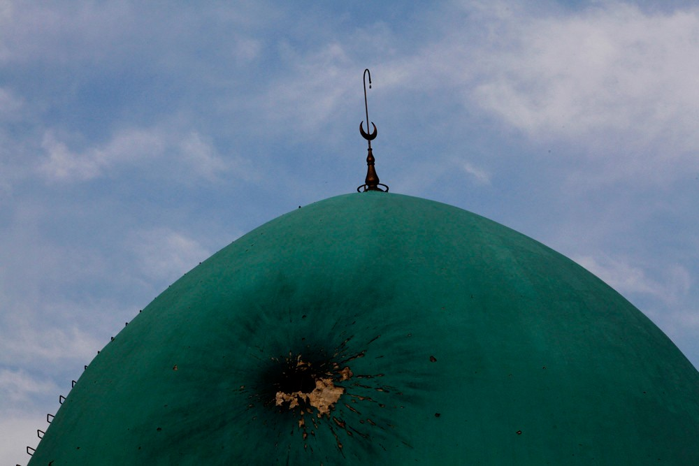 November 21, 2012 – Aleppo, Syria: The dome of the destroyed mosque of Salah Aldin. The mosque was damaged during the fighting between the Free Syrian Army and soldiers loyal to Bashar al-Assad.