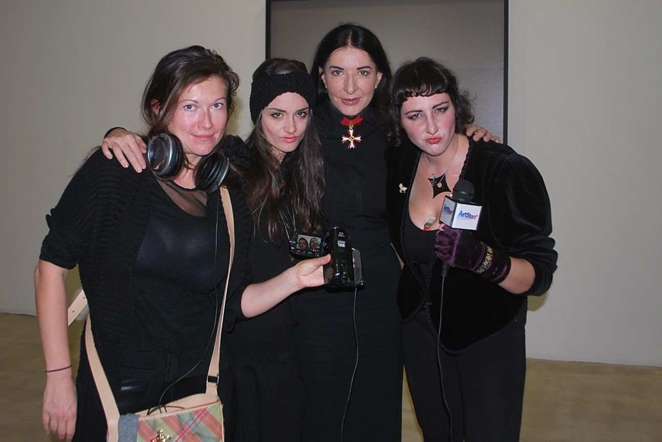 Me and my friends posing with Marina Abramović at Galerie Krinzinger, Vienna, Austria.