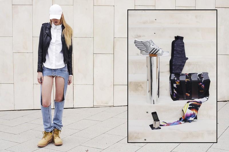 Asia lleva gorra Weekday, chamarra de piel Pull & Bear, camisa y pantalón Nhu Duong, botas CAT // Recuadro: leggings SHOOP, falda Nhu Duong, tenis Adidas by Jeremy Scott