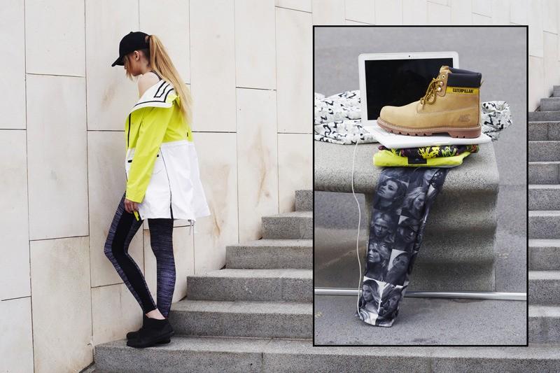 Asia lleva gorra Nike, chamarra Adidas Stella McCartney, leggings SHOOP, zapatillas Vans OTW // Recuadro: botas CAT, gorro Krizia Robustella