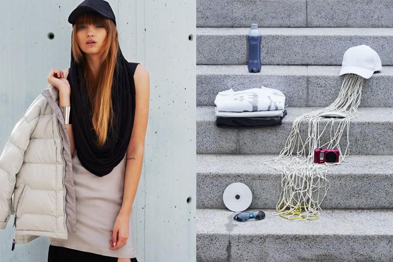 Asia lleva bufanda Buf, chaqueta Nike, vestido Nhu Duong, muñequera Weekday // Recuadro: sudadera Shallowww, gorra Weekday
