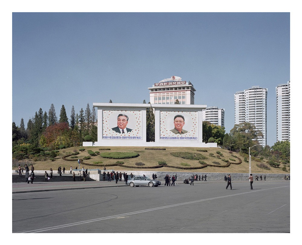 Mosaics picturing Kim Il Sung and Kim Jong Il on the Jangdae Hill in Pyongyang.