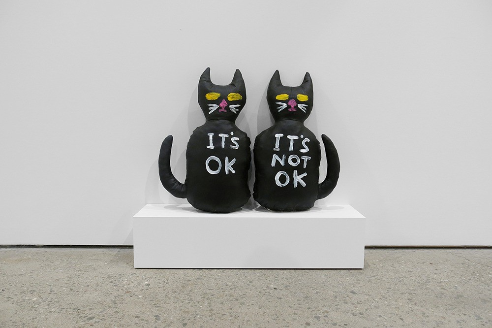 David Shrigley, Cat (It's OK, It's Not OK), 2012, Acrylic on canvas stuffed with foam, 17 1/2 x 10 1/2 x 4 1/2 inches, each Courtesy Anton Kern Gallery, New York