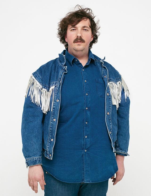 Vintage-Jacke von Citizen Vintage, Hemd von American Apparel, Jeans von Naked & Famous
