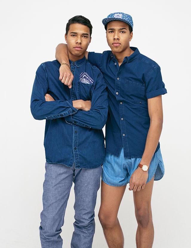 Vintage-Hemd, Jeans von Naked & Famous, Bandana von Penfield; Hemd von WeSC, Shorts von American Apparel, Hut von Penfield, Vintage-Armbanduhr, Vintage-Armband
